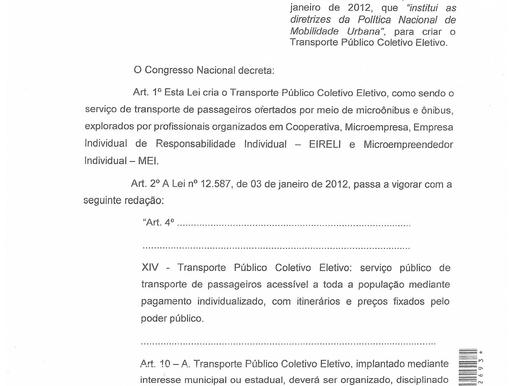 Projeto de lei Nº 2843, lei que cria o termo do Transporte Público Coletivo Eletivo.
