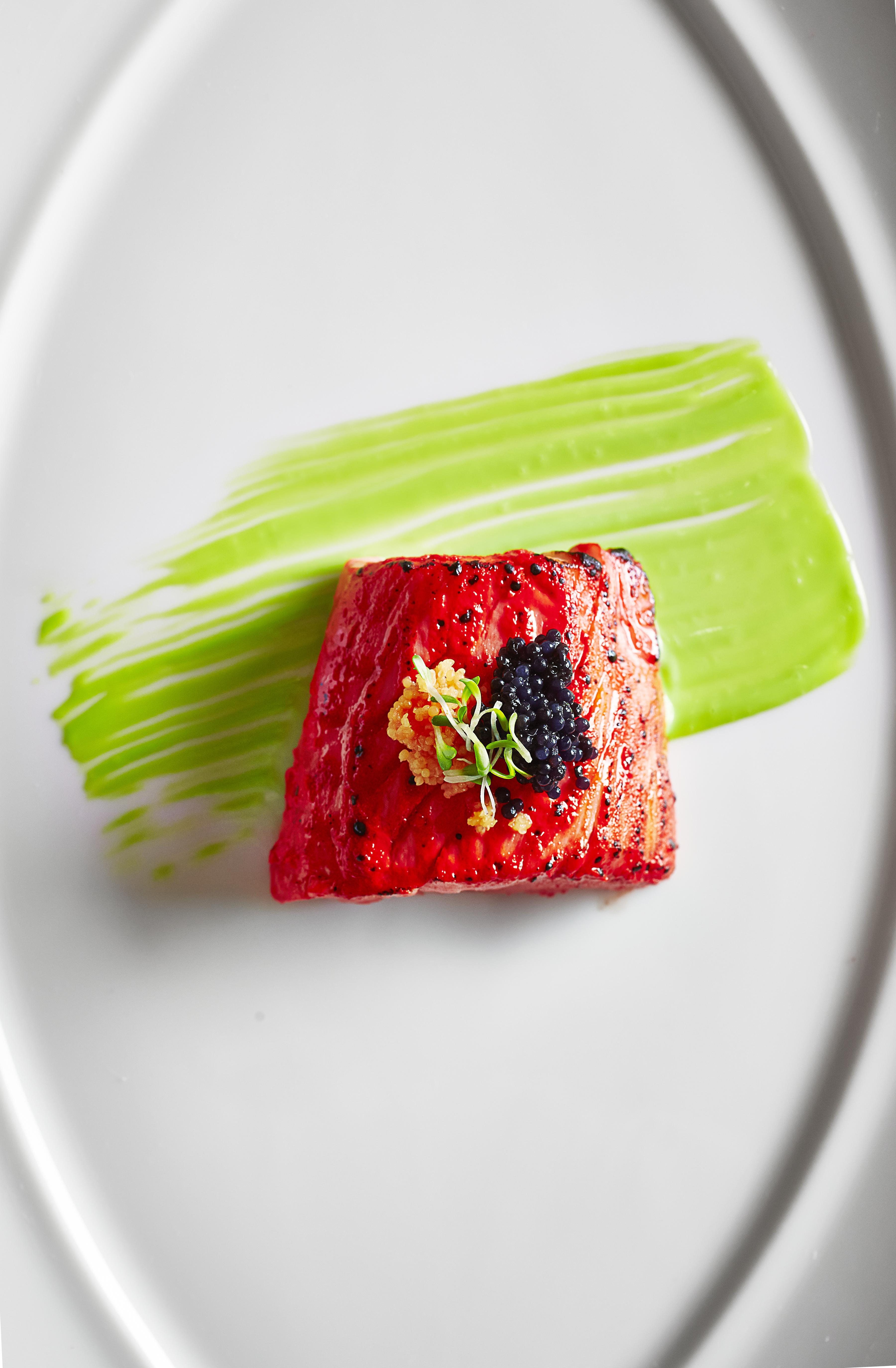 Tandoori Marinated Salmon in Sambal and Fresh Pomegranate