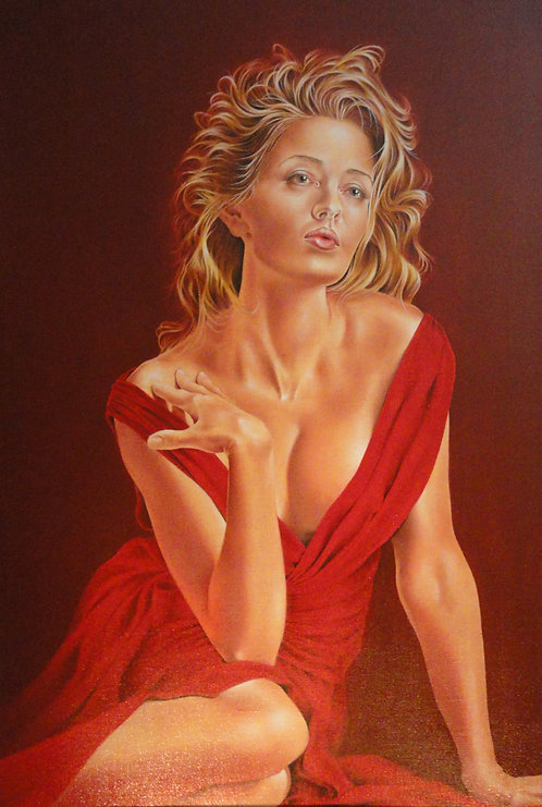 """Lady in Red"" Giclee Print-  Artist: J Jefferson"