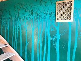 spring trees mural