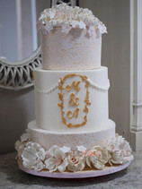 Engagement Cake covered in edible lace a