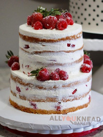 Two Tier Naked Strawberry Shortcake with