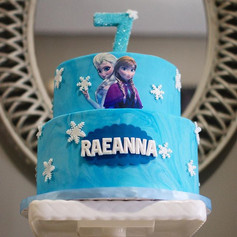 Two Tier Fondant Frozen Cake 😍❄️💙_-_-_