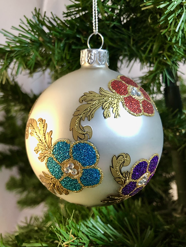 Glass Bauble with textured decoration.