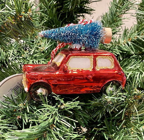 Glass Bauble Red Car with Christmas Tree