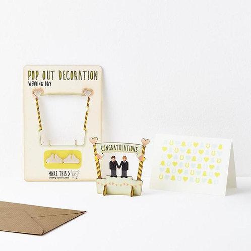 Pop-Out Groom & Groom Wooden Card