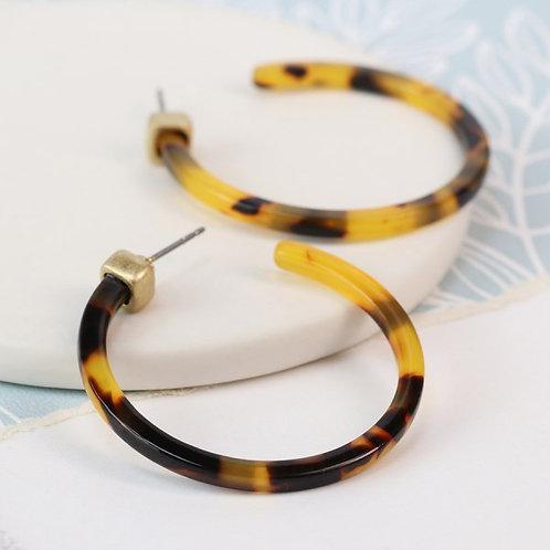 Tortoise shell resin hoop and gold plated earrings