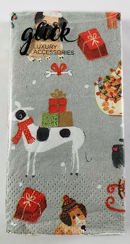 Paper Hankies, Christmas Dogs with Presents.