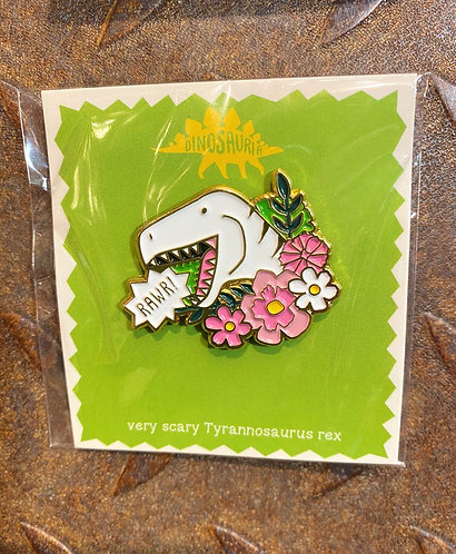 Dinosaur Pin Badge T-Rex Very Scary