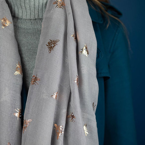 Grey Scarf With Bee Foil Print