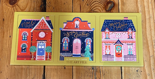 Christmas Cards Pack of 12 Colourful Houses