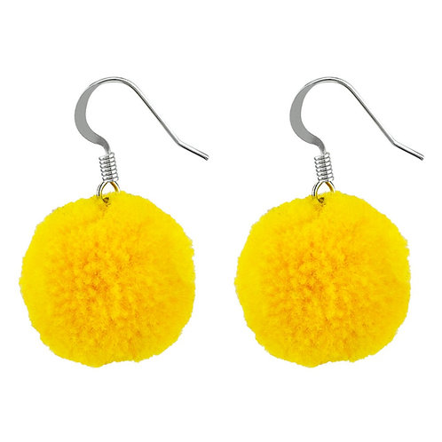 Yellow Pom Pom earrings