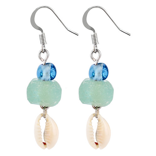 Cowrie Shell & Sea Glass earrings