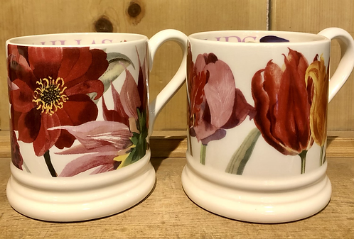 Flowers set of 2 half pint mugs boxed