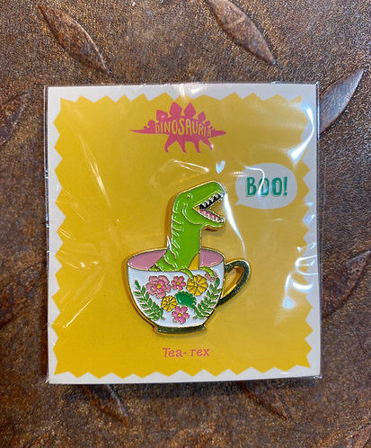 Dinosaur Pin Badge T-Rex in a Tea Cup