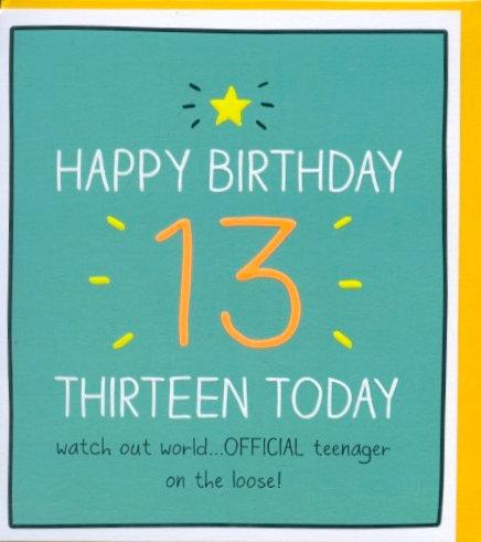Thirteen Today.