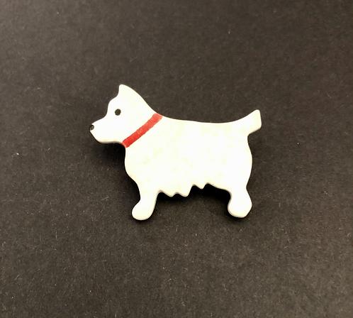 Ceramic Dog Brooch.