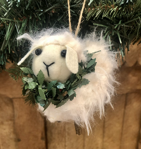Sheep with Wreath tree decoration,Wooly.