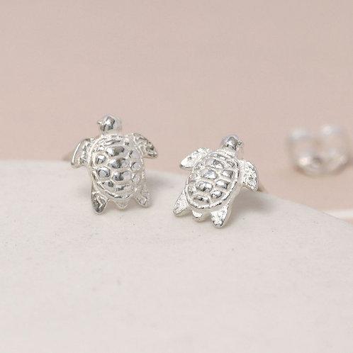 Sterling Silver Tiny Turtle Stud Earrings