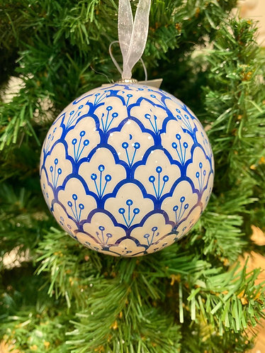 Blue & White Paper Bauble 3 Assorted