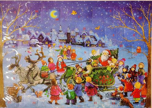 Advent Calendar Santa on Sleigh with Children