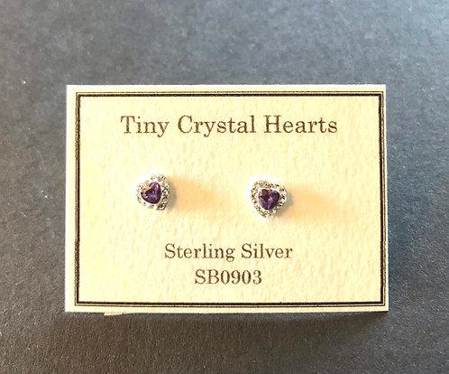 Tiny heart stud earrings. Amethyst coloured.