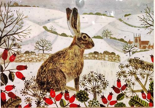 Advent Calendar Hare in Snow Fields