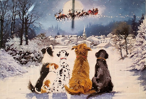 Advent Calendar Dogs Looking for Father Christmas
