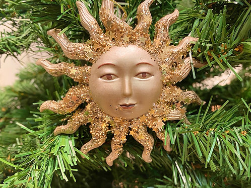 Gold Resin Sun Face Glittered