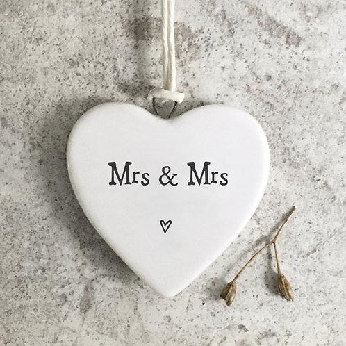 Mrs & Mrs Porcelain Hanging Heart