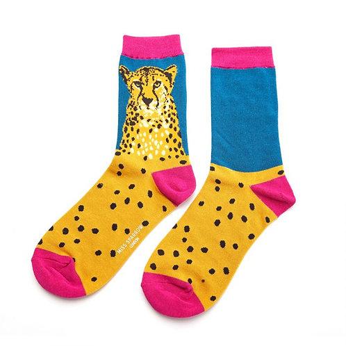 Women's Socks Cheetahs on Teal & Pink
