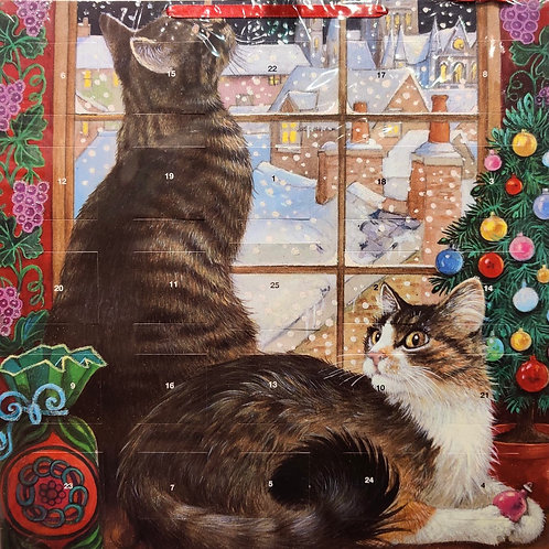 Cats in window with stickers