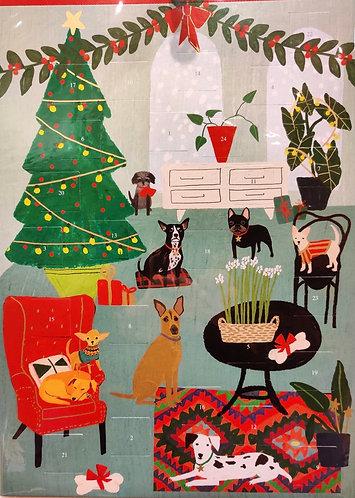 Advent Calendar Dogs By Christmas Tree