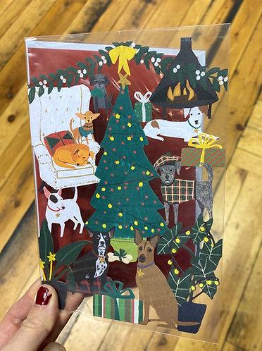 Christmas Card Dogs Lasercut