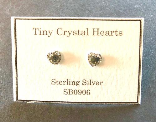 Tiny Heart shaped Stud earrings Abalone coloured.