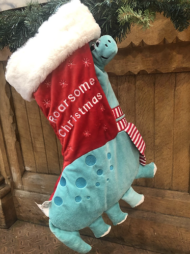 Roarsome Dinosaur Christmas stocking, fabric.