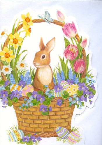 Easter Rabbit in a Flower Basket.