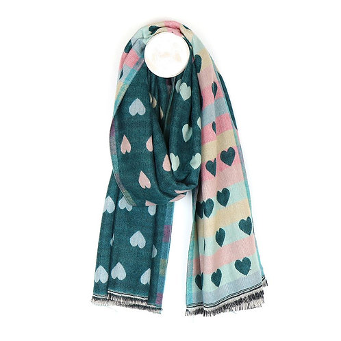 Teal Soft Reversible Hearts Jacquard Scarf