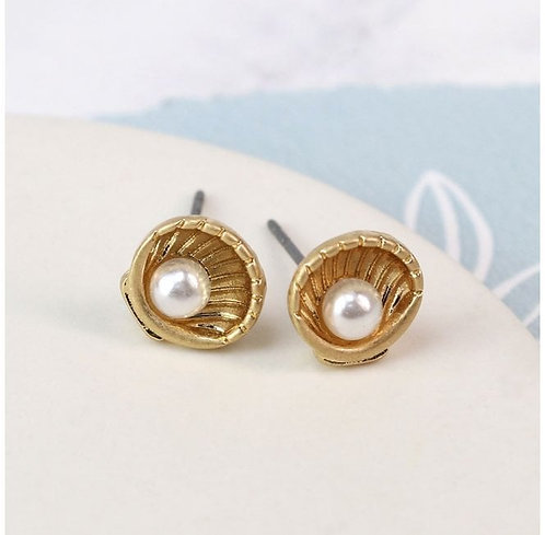 Worn Gold and Pearl  Effect Earrings
