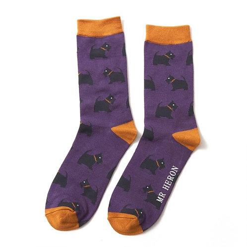 Men's Socks Scotties on Purple