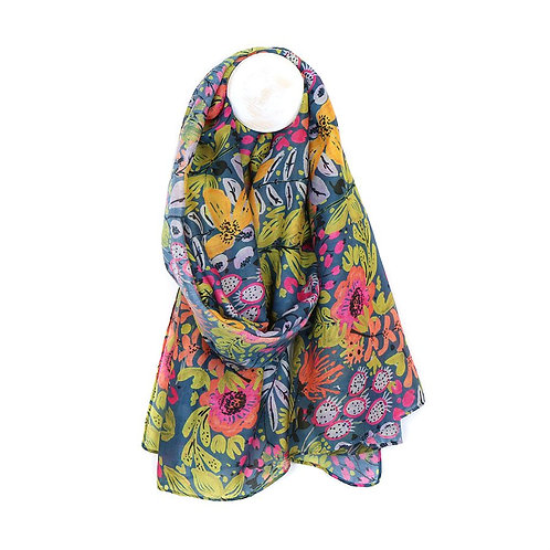 Recycled Plastic Fabric Garden Print Scarf