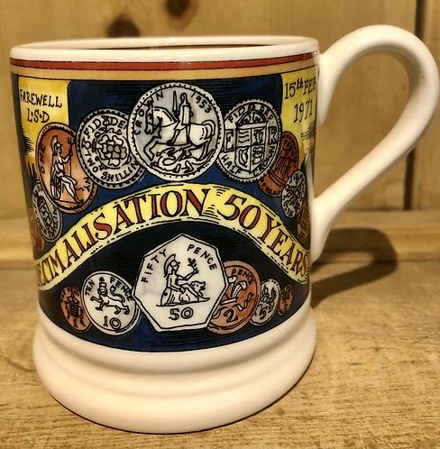 Pounds shillings and pence half pint mug.