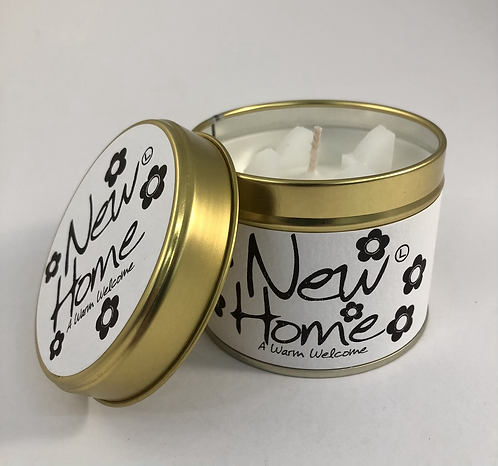 Lily Flame Scented Candle tin, New Home.
