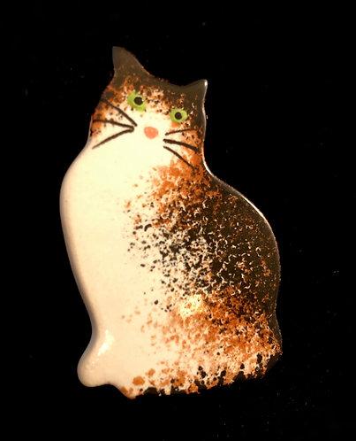 Ceramic Cat Brooch.