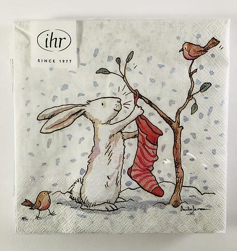 Paper Napkins, Charming Snow Rabbits.