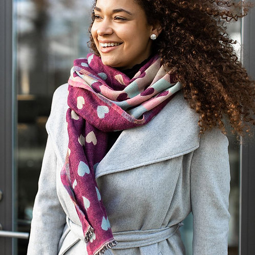 Pink Soft Reversible Hearts Jacquard Scarf