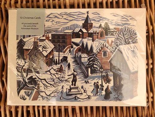 Christmas Cards Pack of 10 Ashmolean Village Scene