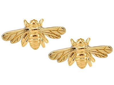 Gold-plated Bee stud earrings.