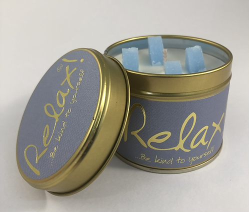 Lily Flame Scented Candle tin, Relax.