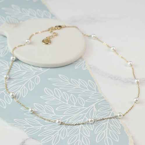 Gold Plated Dainty Necklace With White Glass Pearls